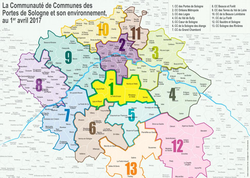 carte de la sologne Carte Geographique CC Portes De Sologne   Site Officiel de la